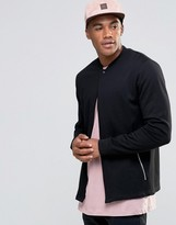 Asos Jersey Bomber Jacket With Snap & Zip Pockets