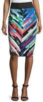Milly Mirage Striped Midi Skirt