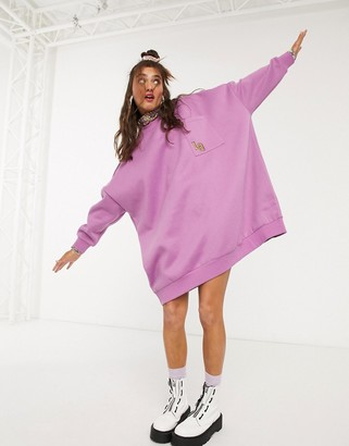 Lazy Oaf super oversized sweater dress with contrast floral high neck detail
