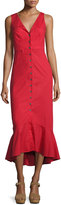 Saloni Zoey Cutout Button-Front Midi Cocktail Dress, Red