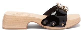 Roger Vivier Viv Patent-leather Clog Slides - Black