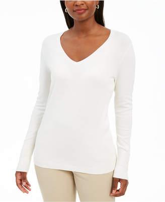 JM Collection Embellished-Sleeve V-Neck Sweater
