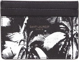 Saint Laurent Black & White Leather Cardholder Plams Print