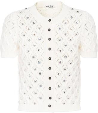Miu Miu Crystal-Embellished Open-Knit Cardigan