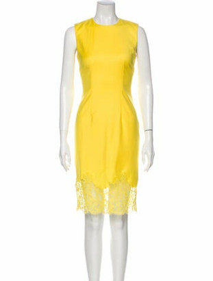 Givenchy Crew Neck Knee-Length Dress Yellow
