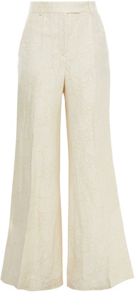 Joseph Tana Linen And Silk-blend Jacquard Flared Pants
