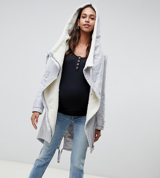 Asos DESIGN Maternity waterfall parka with borg liner-Gray