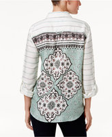 Style&Co. Style & Co Petite Paisley-Back Striped Shirt, Only at Macy's