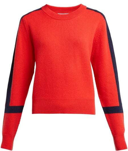 Allude Contrast Stripe Cashmere Sweater - Womens - Red Navy