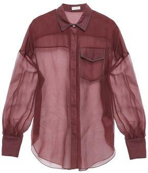 Brunello Cucinelli Bead-embellished Silk-organza Shirt