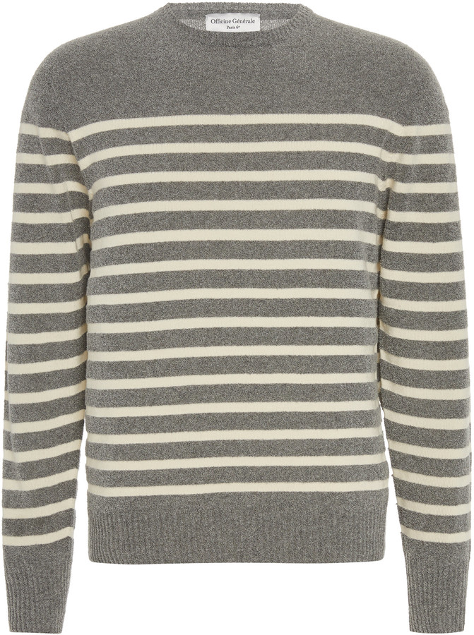 Officine Generale Ansel Striped Cotton Sweater