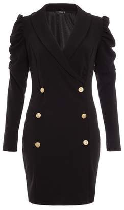 Dorothy Perkins Womens *Quiz Black Puff Sleeve Blazer Dress, Black