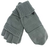 Luxury Divas Grey Knit Half Fingerless Thumbs Mitten Gloves