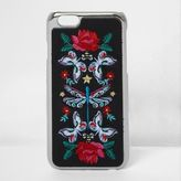 River Island Womens Black embroidered iPhone 6 case