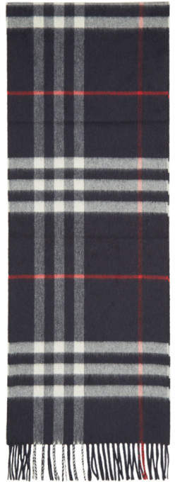 Burberry Navy Cashmere Giant Check Scarf