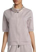 Peserico Charmeuse-Trim Sweatshirt Jacket