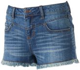 Mudd Juniors' High Waist Drop Yoke Jean Shortie Shorts