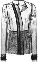 Rick Owens Lilies curved zip sheer jacket