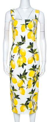 Dolce & Gabbana Lemon Print Sleeveless Midi Sheath Dress S