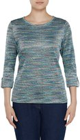 Allison Daley Petites Space-Dye 3/4 Roll-Tab Sleeve Pullover