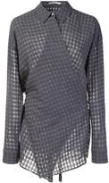 Alexander Wang checked wrap-style shirt - women - Cotton/Viscose/Virgin Wool - 2