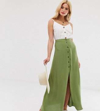Asos Tall ASOS DESIGN Tall button front maxi skirt