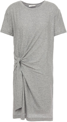 Vince Knotted Melange Cotton-jersey Mini Dress