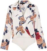 Quiz White Satin Floral Long Sleeve Bodysuit