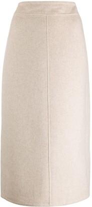 Vince Seam-Front Midi Skirt