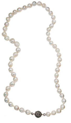Stephen Dweck Baroque Pearl Necklace with Citrine Station