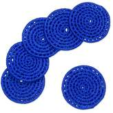 6 Artisan Crafted Round Cobalt Blue Coasters Set from Mexico, 'Party Cobalt'