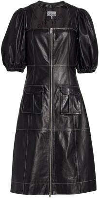 Ganni Puff-Sleeve Panelled Leather Dress