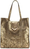 Neiman Marcus Metallic Faux-Leather Tote Bag, Bronze