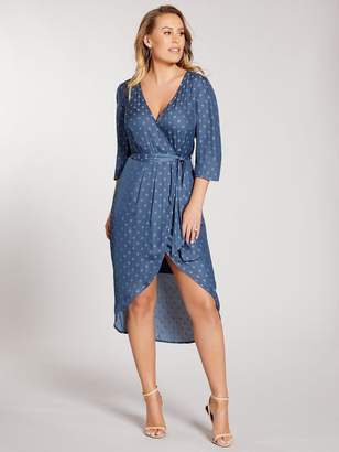 Spot Jacquard Wrap Midi Dress - Teal