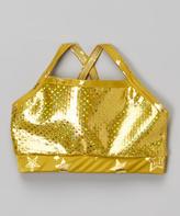 Gold Metallic Crop Tank - Girls