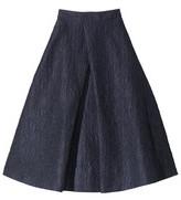 Monique Lhuillier navy pleat-front skirt