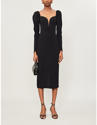 Reformation Sweetheart-neck crepe midi dress