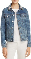 Hudson Rose Embroidered Classic Denim Jacket in Distinction