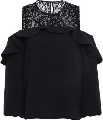Maje Cold-shoulder Lace-paneled Velvet Top