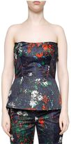 Cédric Charlier Floral Print Strapless Bustier
