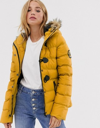 Brave Soul wizard padded coat with faux fur hood-Yellow