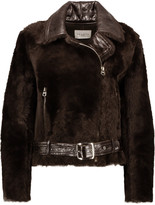 Sandro Vianette glossed textured-leather and shearling coat
