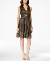 Jessica Howard Metallic Jeweled Halter Dress