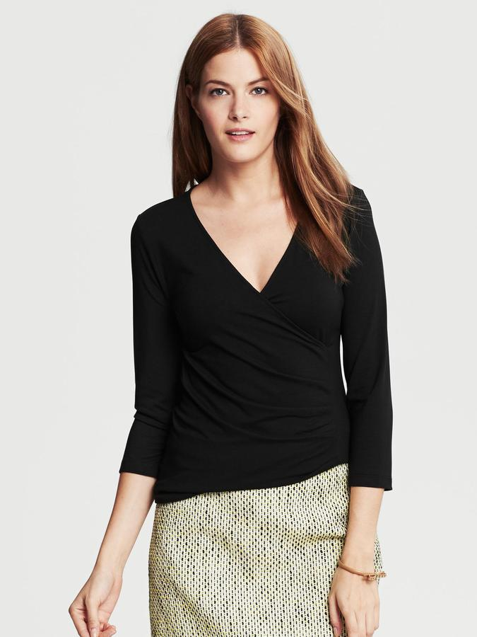 Banana Republic Black Faux-Wrap Top
