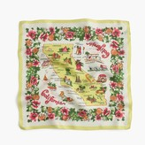 J.Crew Italian silk square scarf in California map print