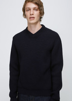 Lanvin navy blue placed darts english rib round neck knit