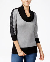 Amy Byer Juniors' Lace-Sleeve Colorblocked Sweater