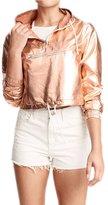 WeHeart HDY Women Solid Casual Loose Soft Metallic Jacket Hooded Zipper Short Coat -L