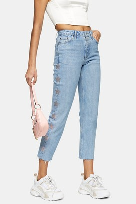 Topshop Womens Considered Bleach Diamante Star Straight Jeans - Bleach Stone