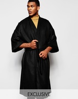 Reclaimed Vintage Winter Kimono Longer Length - Black